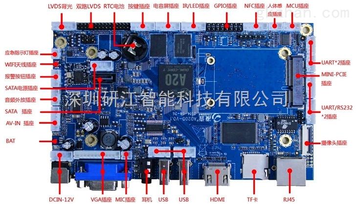 支持定时开关机otg摄像头mic全功能串口安卓工业主板