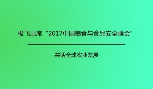 """极飞出席""""2017中国粮食与食品安全战略峰会"""""""