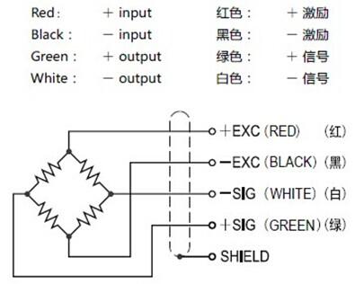 美国transcell称重传感器bsh-100kg的接线方式